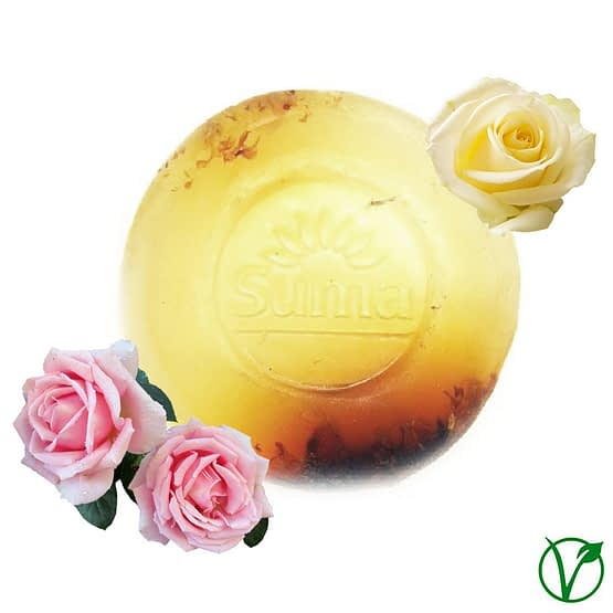 Traditional handmade glycerine soap fragranced with natural oils of rose and geranium with real rose petals